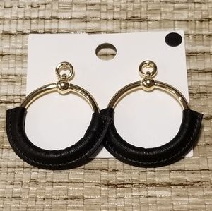 Leather & Gold earrings